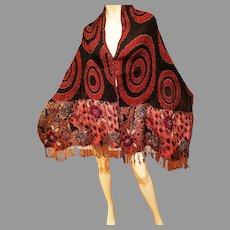 Vtg Jean Louis Scherrer Paris Couture embroidered Long wool Shawl w/Fringes