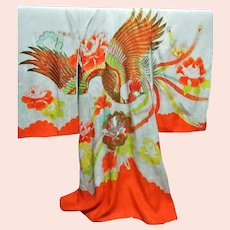 Antique Japanese silk Ceremonial Embroidered Kimono Birds of Paradise Fully Lined second skin
