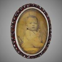 "Stunning Antique Oval Garnet Silver Frame  ""EASEL STAND"""