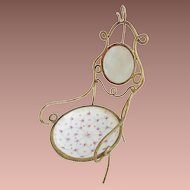Antique Mother of Pearl & Porcelain Watch Holder Chair
