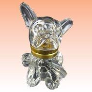"""Antique Czech Crystal """"DOG"""" Inkwell """"BIG Floppy Bow & BIG EYES"""""""