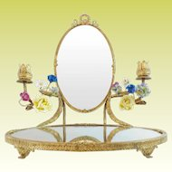 """14 ½"""" Antique French Mirror Vanity """"PORCELAIN FLOWERS""""  Bow & Wreath Top"""