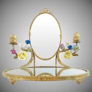 "14 ½"" Antique French Mirror Vanity ""PORCELAIN FLOWERS""  Bow & Wreath Top"