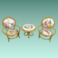Vintage Estate Limoges Miniature Doll Porcelain Table & Two Chairs