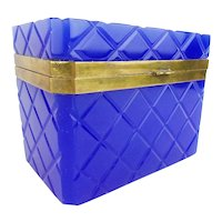 Antique French Cobalt Opaline Casket