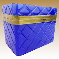 "Grandest Antique French Cobalt Opaline Casket  ""AWESOME COLOR"""