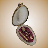 "Antique French White Opaline Etui Egg Shaped Casket ""RARE """