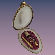 "Antique French White Opaline Etui Egg Shaped Casket ""RARE """