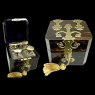 Exquisite Antique English Scent Perfume Casket ~ Four Outstanding Crystal Gilt Sterling Top Scent Bottles ~ GRANDEST