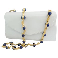 LAYAWAY  Magnificent Estate Vintage Judith Leiber White Patent Leather Bag with FABULOUS Lapis  Shoulder Strap