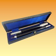 Wonderful 1929 English Conductor Baton in the Original Presentation Case ~ Dedication Plaque on the Ebony &  Silver Baton