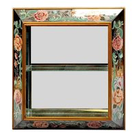 """30"""" 1940 Reverse Painted Mirror """"BIG PINK FLOWERS"""" Curio Wall Vitrine  ~ The Perfect Place for a Small Collection"""