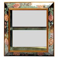 "Amazing 30"" 1940 Reverse Painted Mirror ""BIG PINK FLOWERS"" Curio Wall Vitrine  ~ The Perfect Place for a Great Small Collection"
