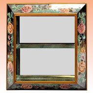 """Amazing 30"""" 1940 Reverse Painted Mirror """"BIG PINK FLOWERS"""" Curio Wall Vitrine  ~ The Perfect Place for a Great Small Collection"""