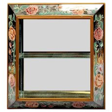 """30"""" 1940 Reverse Painted Mirror """"BIG PINK FLOWERS"""" Curio Wall Vitrine  ~ he Perfect Place for a Great Small Collection"""