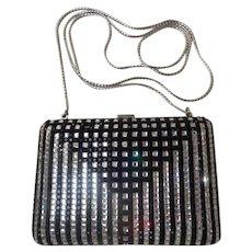 LAYAWAY Judith Leiber Minaudiere Jeweled Black &  Rhinestone Purse. ~ Wonderful Little Clutch  or  White Metal Chain