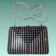 Magnificent Judith Leiber Minaudiere Jeweled Black &  Rhinestone Purse. ~ Wonderful Little Clutch  or  White Metal Chain