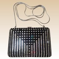 Magnificent Judith Leiber Minaudiere Jeweled Black &  Rhinestone Purse. ~ Wonderful Little Clutch  or  White Metal Chain