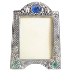 Czech Miniature Jeweled  Picture Frame ~ A Table Top Easel Back Picture Frame