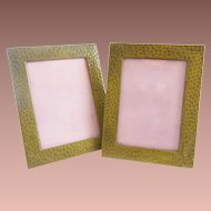 Pair Miniature Hammered Brass Picture Frames  ~  A Pair Table Top Easel Back Picture Frames
