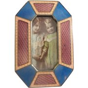 Miniature Enamel  Picture Frame ~ A Table Top Easel Back Picture Frame