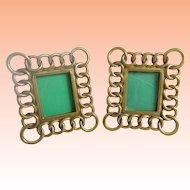 PAIR Miniature Brass Picture Frame  ~  PAIR Table Top Easel Back Picture Frames