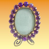 Miniature Jeweled  Picture Frame  ~ Table Top Easel Back Picture Frames
