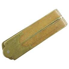 1879 Brass &  Wood  Folding Ruler~ Monogrammed  M A B 1879