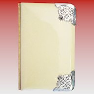 """Antique English Silver & Celluloid Book of Common Prayer  """"The Church of England"""" with Ornate Silver Corners"""