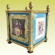 Exquisite 19C Sevres Cachepot ~ Grandest Gilt Dore Bronze Mounts ~  Four Stunning Plaques