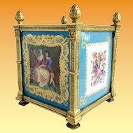 Magnificent & Exquisite 19C Sevres Cachepot ~ Grandest Gilt Dore Bronze Mounts ~  Four Stunning Plaques.