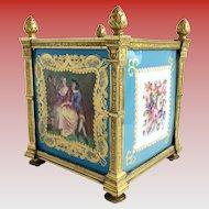 Magnificent & Exquisite 19C Sevres Cachepot ~ Grandest Gilt Dore Bronze Mounts ~  Four Stunning Plaques.