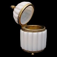 Exquisite Antique French Bulle de Savon Opaline Casket Hinged Box ~  Three Ball Base & Exquisite Acorn Finial.~ The Opaline is Glowing with Fire!
