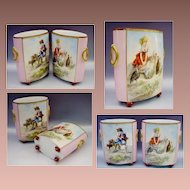 Antique French Porcelain Cachepots ~ A Rare Pair Hand painted Porcelain Heavy Gilding Cachepots. ~ Adorable Frolicking Children with Animals.~