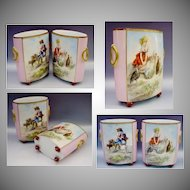 Beautiful PAIR Antique French Porcelain Cachepots ~ Hand painted Cachepots ~ Children  w Goats and Turkeys