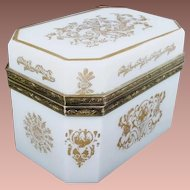 Magnificent Antique White Opaline Casket Hinged Box ~ Beautiful Ornate Mounts ~  Stunning Gilding on the Top &  All Four Sides