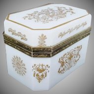 Exquisite  French White Opaline Casket Hinged Box ~ Beautiful Ornate Mounts ~  MAGNIFICENT  GILDING