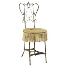 Pretty and Special Antique Metal Vanity Chair With Needlepoint Seat