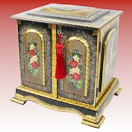 """Exquisite 11"""" Antique English Sewing Box Casket Chest ~ Beautiful Hand Painted with Mother of Pearl ~ Locking Key"""