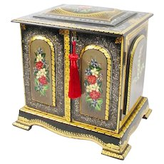"Exquisite 11"" Antique English Sewing Box Casket Chest ~ Beautiful Hand Painted with Mother of Pearl ~ Locking Key"