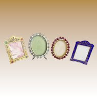 4  Antique Miniature Picture Frames ~ A Charming Group of Table Top Easel Back Frames  ~  ALL Ready for Your Special Little Picture