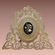 Exquisite Antique Pietra Dura Frame ~ Gilt Bronze Easel Back Frame with Beautiful Plaque ~