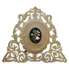 Exquisite Antique Pietra Dura Frame ~ Gilt Bronze Easel Back Frame with Beautiful Plaque ~