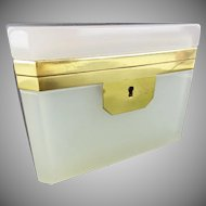 "Beautiful Antique French  Opaline Casket Hinged Box ""This Box is Luscious Creamy White"""