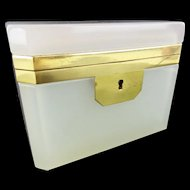 Stunning Antique French  White Opaline Casket Hinged Box  ~  LUSCIOUS COLOR