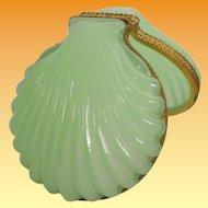 Beautiful  Antique French Green Opaline Casket Hinged Box ~ Glorious  Green Opaline Shell Shape Box~ Ornate Gilt Mounts