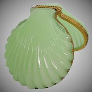 Beautiful  Antique French Green Opaline Casket Hinged Box ~ Glorious  Green Opaline Shell Shape Box~ Ornate Gilt Mounts