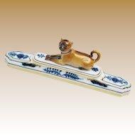 Wonderful Antique Meissen Porcelain Pug ~ Adorable Brown Pug with a Blue Collar ~ Blue Foliage &  Gilding