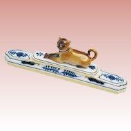 Antique Meissen Porcelain Pug ~ Adorable Brown Pug with a Blue Collar ~ Blue Foliage &  Gilding