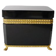 Grandest Antique French Opaline Casket Hinged Box ~  Beautiful Gilt Mounts, Lift Clasp & Paw Footed Base ~ A BEAUTY from My Treasure Vault